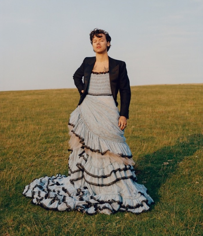Top 5 Iconic Harry Styles Fashion Looks Only He Could Pull Off - Vogue Cover 2020 Ruffled Dress